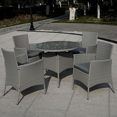 CHOOSEandBUY 5 pcs Patio Rattan Dining Table and 4 Chairs Set Patio Cushion Seat Yard Garden Pool (Dining Room Garden Classics Chair)