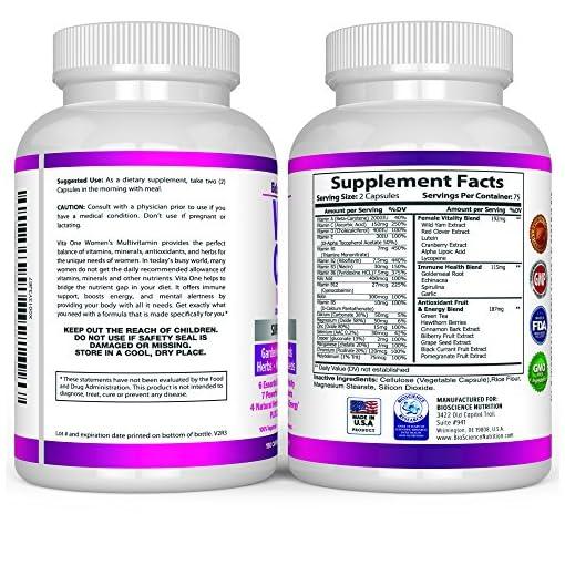 VITA-ONE-Multivitamin-for-Women–Daily-Wholefood-Supplement-150-Vegan-Capsules–BioScience-Nutrition