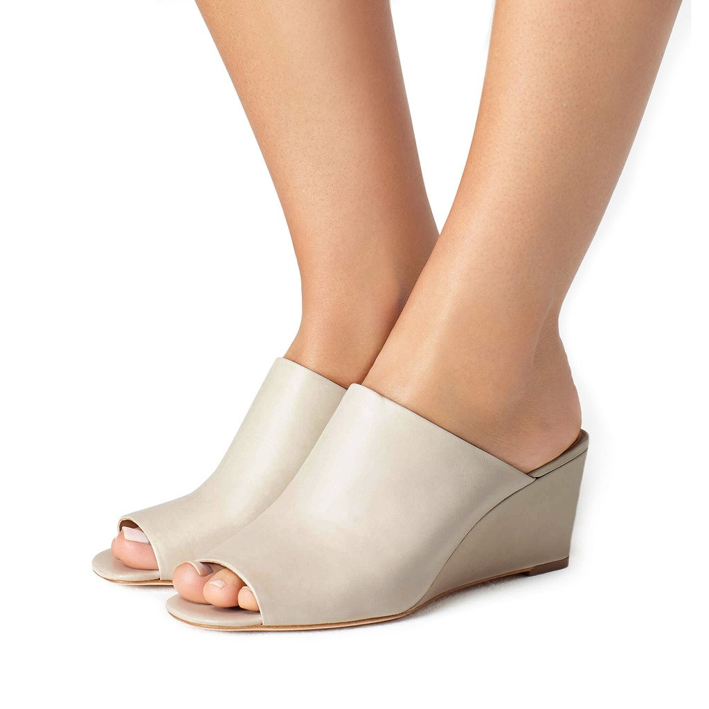 FSJ Women Sexy Peep Toe Mule Style Wedge Sandals Slip On Shoes for Casual Size 4-15 US B073CXLD84 10 B(M) US|Taupe