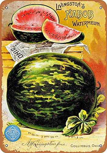1895 Livingston's Watermelon Seeds Vintage Look Funny Aluminum Metal Sign Funny Easy to Mount Indoor & Outdoor Use 8 x 12 (Seed Vintage Signs)