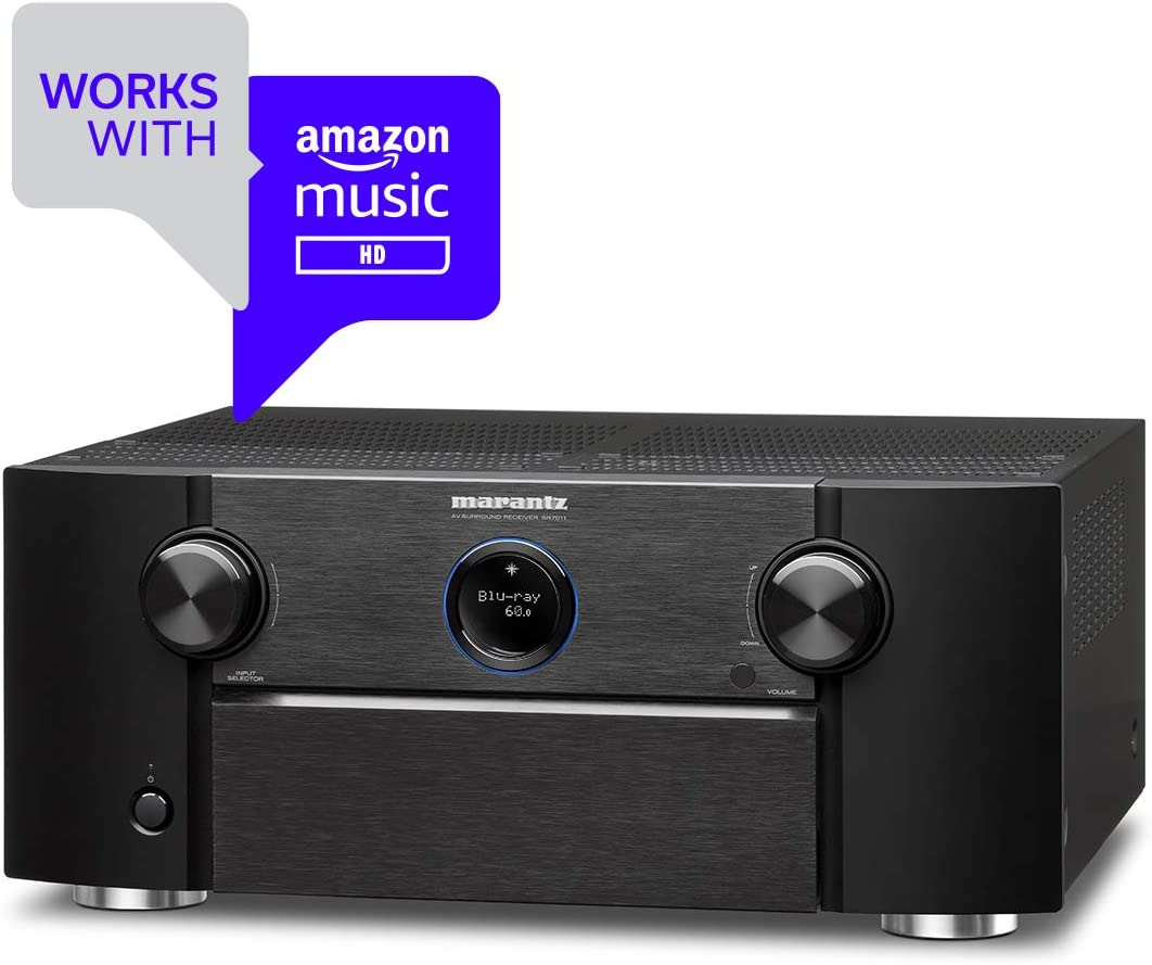 Marantz SR7011 9.2 Channel Full 4K Ultra HD AV Receiver with Built-in Heos Wireless Technology Featuring Bluetooth and Wi-Fi, Works with Alexa