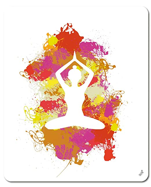 1art1 Siluetas - Yoga Posición de Loto, Manchas De Colores ...