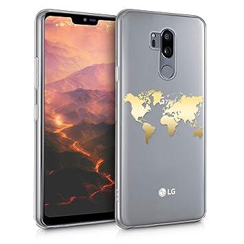 kwmobile Funda para LG G7 ThinQ/Fit/One - Carcasa Protectora de TPU con diseño de Mapa del Mundo en Dorado/Transparente