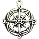 NEWME 20pcs compass Charms Pendant For DIY Jewelry Wholesale Crafting Bracelet and Necklace Making (antique silver)