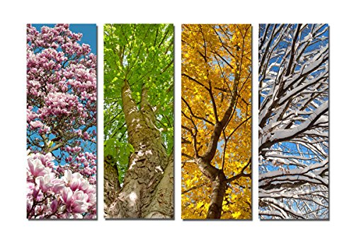 Yang Hong Yu - 4 Season Landscape Canvas Prints Forest Tree Painting Wall Art Stretched Artwork Home Office Decorations