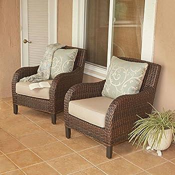 Outdoor Patio Furniture Sunbrella Wicker Club Chairs, Set Of 2
