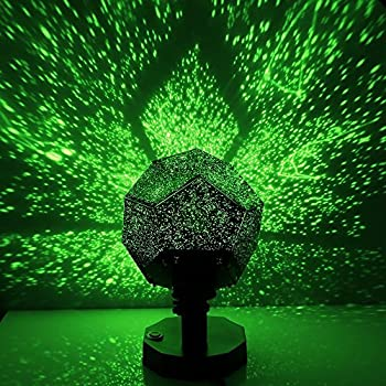 DIY Science Sky Projection Night Light, GloryShine Projector Lamp Rotating Phantom Star Projector Night Lamp with 12 Romantic Constellation for Children Adults Bedroom - Three Colour