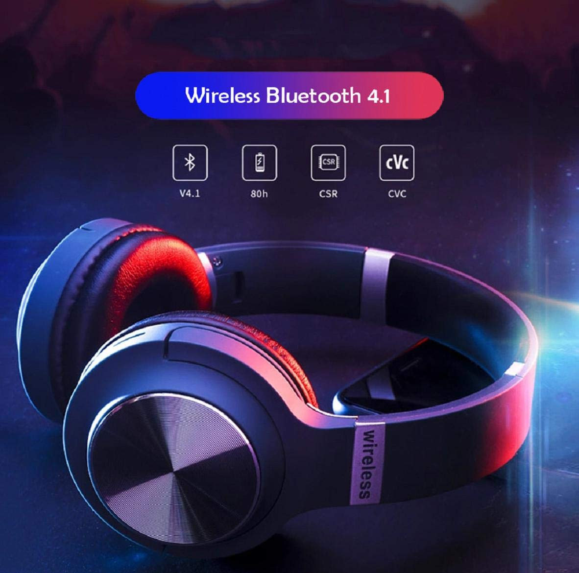 Boddenly Noise Cancelling Headphones Bluetooth Headphones with Mic Deep Bass Wireless Headphones Over Ear, Comfortable Protein Earpads, Playtime for Travel Work, HI-FI Stereo