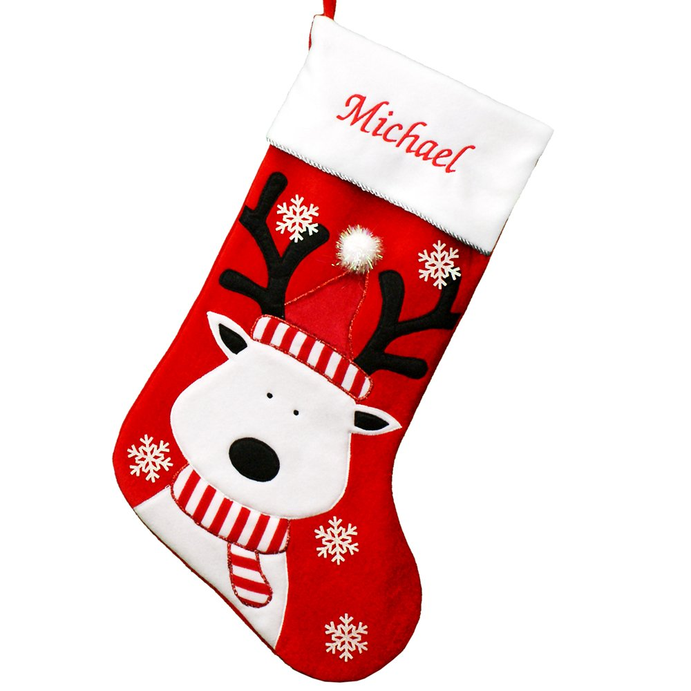 GiftsForYouNow Reindeer Personalized Christmas Stocking, 24'', Embroidered