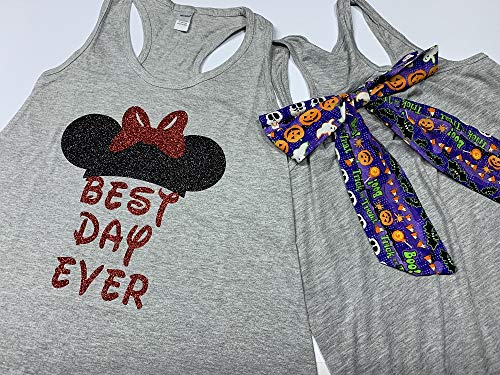 Handmade Disney Halloween Shirt with Bow on back Best Day Ever with Halloween Bow -
