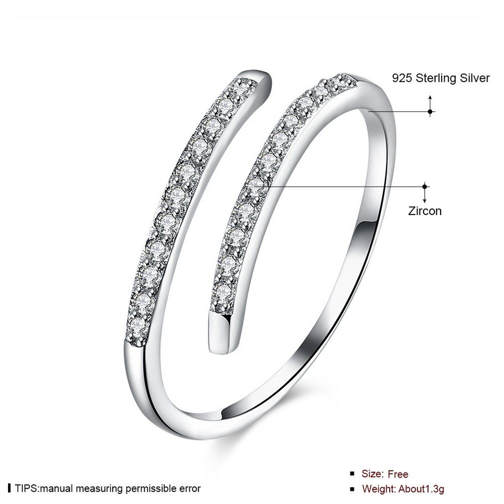 c4a4ddb80 YAZILIND 925 Sterling Silver Simple Design Cubic Zirconia Opening Rings  Adjustable for Women girls: Amazon.co.uk: Jewellery