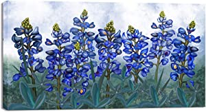 Visual Art Decor Blue Texas Bluebonnets Floral Paiting Canvas Wall Art Abstract Flowers Close Up Picture Prints Gallery Wrapped Art for Modern Home Office Living Room Bedroom Decoration