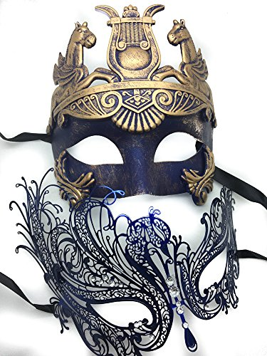 [Blue Couple Lover Mask Antique Roman Egyptian Greek Ancient God Mardi Gras Style Masquerade Mask (Hercules w/] (Hercules Costume Couple)