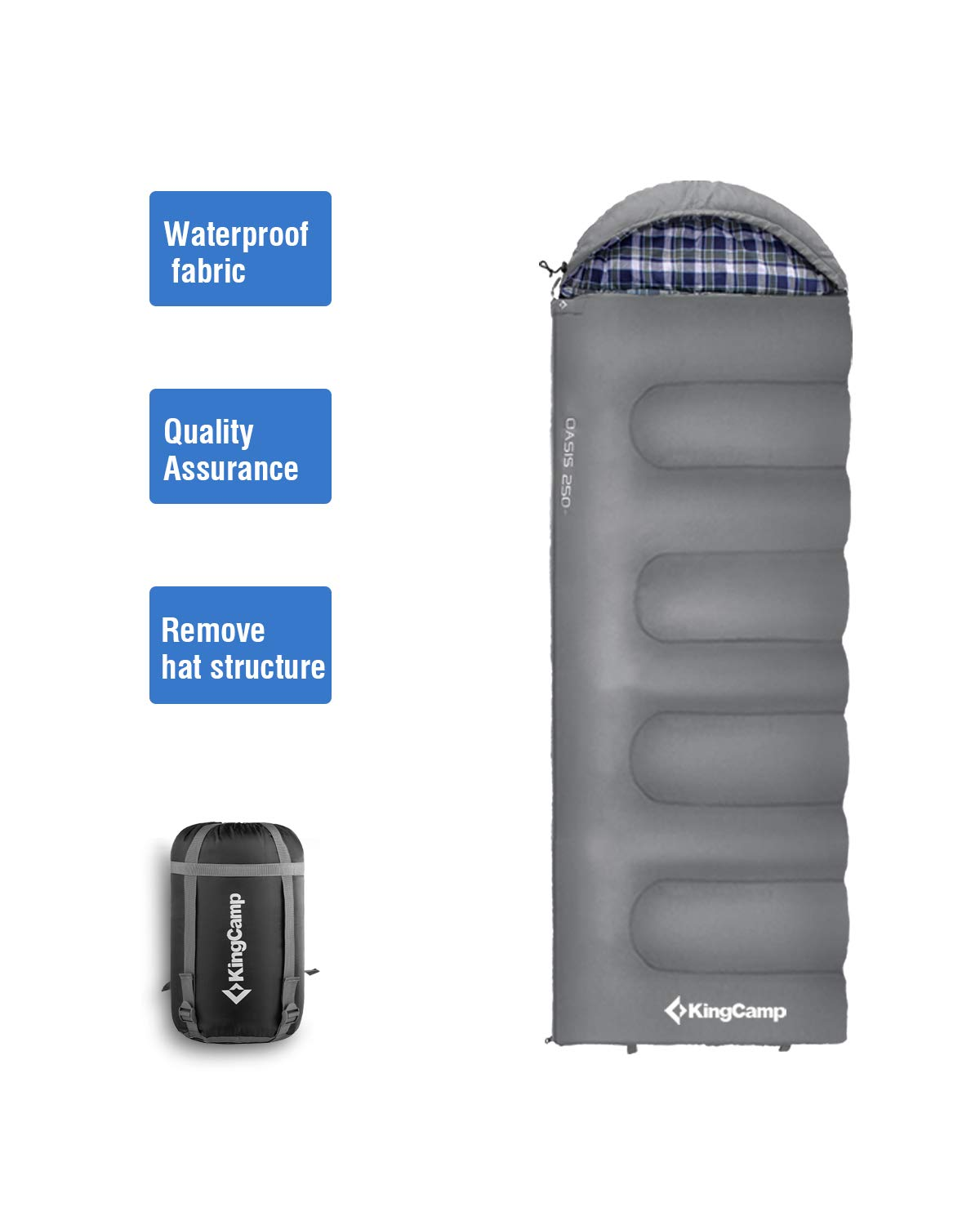 KingCamp Oversize 3-season 24F/-4C Adult Sleeping Bag with Compression Sack Grey Right Hand