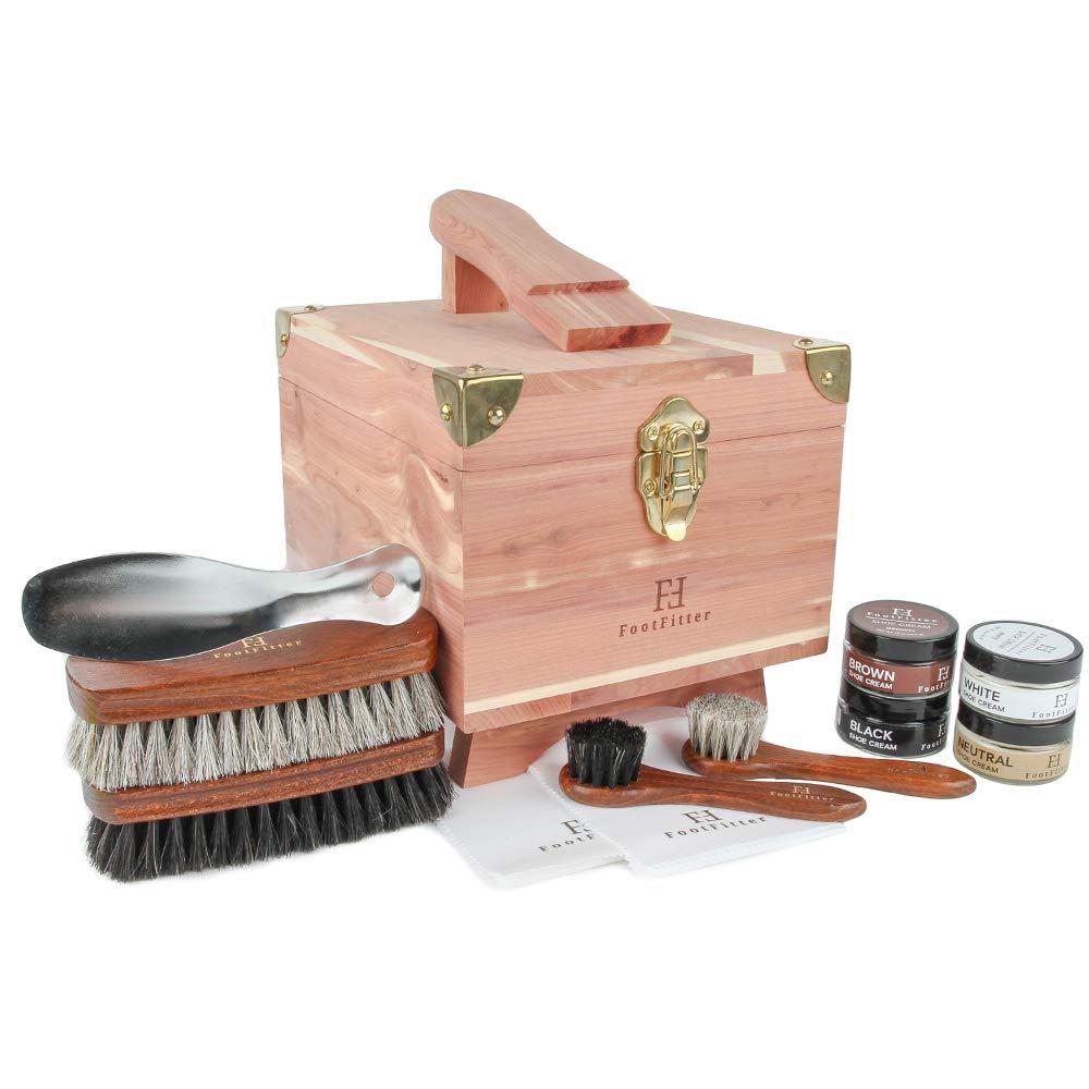 FootFitter Classic Shoe Shine Valet Box Set - Quality Shoe Cleaning Kit!