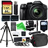 Panasonic LUMIX DMC FZ300 4K Point and Shoot Camera with Leica DC Lens 24X Zoom Black + 64GB SD Card + 57 Tripod + Gear Bag + 2 Batteries + Charger + Filter + Cleaning Kit + DigitalAndMore Accessorie