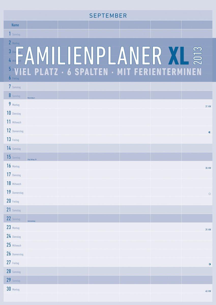 Familienplaner XL mit 6 Spalten, Bildkalender 2013