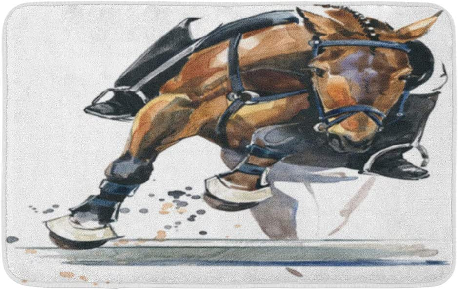 """Adowyee 20""""x30"""" Bath Mat Equestrian Horse Stallion Watercolor Active Animal Competition Dressage Equine Cozy Bathroom Decor Bath Rug with Non Slip Backing"""