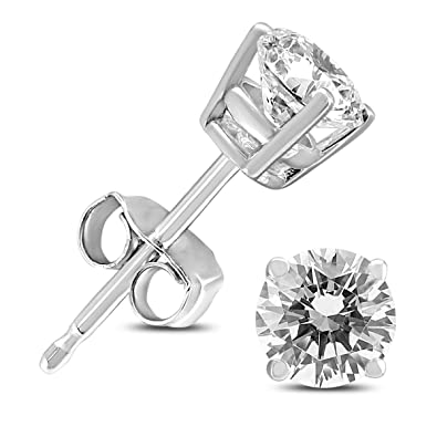 9c8096531 Image Unavailable. Image not available for. Color: 14K White Gold 3/4 Carat  TW Round Diamond Solitaire Stud Earrings