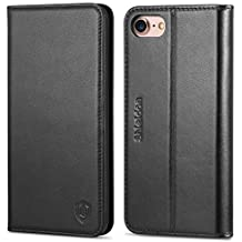 iPhone 8 Case, iPhone 7 Case, SHIELDON iPhone 7 Wallet Case Genuine Leather Premium [Card Holder] [Book Design] Magnetic Closure Stand Flip Protective Cover Case iPhone 8 / iPhone 7 - Black