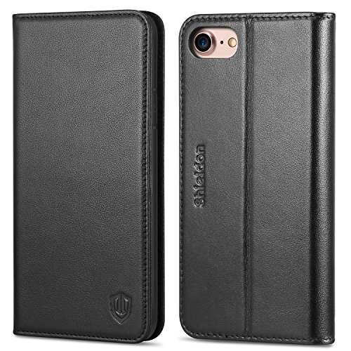 (iPhone 8 Case, iPhone 7 Case, SHIELDON iPhone 7 Wallet Case Genuine Leather Premium [Card Holder] [Book Design] Magnetic Closure Stand Flip Protective Cover Case Compatible iPhone 8 / iPhone 7 - Black)