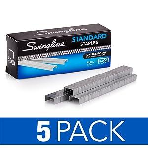 Swingline Staples, Standard, 1/4 inches Length, 210/Strip, 5000/Box, 5 Pack (35101)