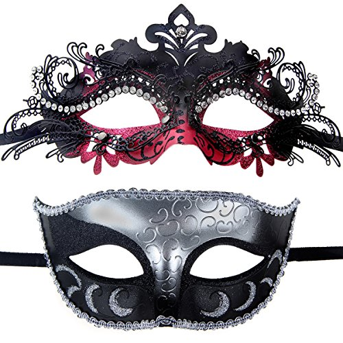 Couples Pair Half Venetian Masquerade Ball Mask Set Party Costume Accessory (black&hot pink) (Hot Costumes For Couples)