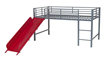 dhp junior twin metal loft bed with slide design silver with red slide
