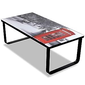 Vislone Tavolino da Salotto/Tavolino da caffè Rettangoalre Stile Industriale in Piano Vetro con Stampa 90 x 45 x 32 cm