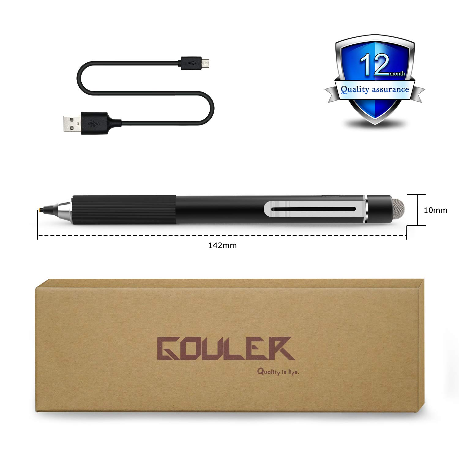 Gouler High-precision Stylus Pen with 2 in 1 Copper & Mesh Fine Tip Rechargeable Capacitive Digital Pen for iPad, iPhone, Android and Most of Touch Screen Devices by Gouler (Image #7)