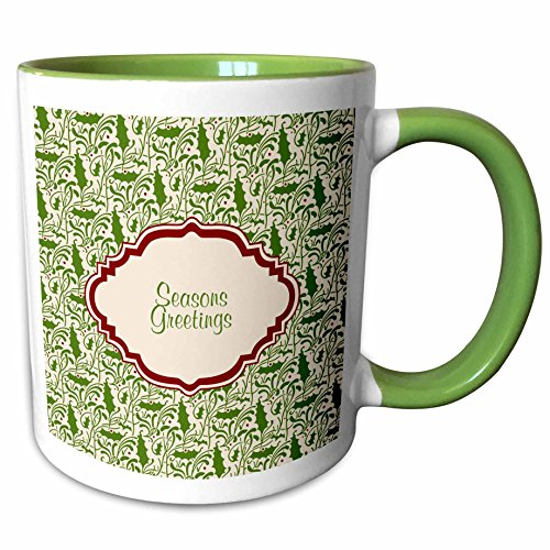 2 Tone Cartouche (3dRose Russ Billington Christmas Designs - Seasons Greetings Design in Maroon Cartouche over Holly Background - 11oz Two-Tone Green Mug (mug_220787_7))