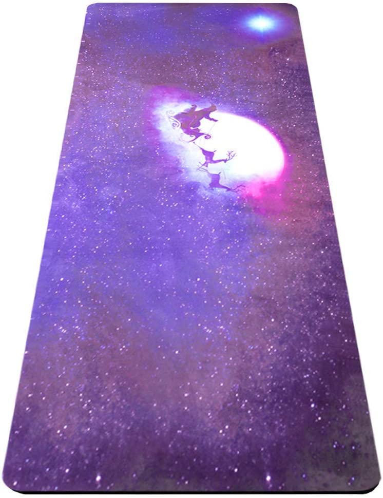 Natural Rubber Eco-Friendly 5mm Thick Yoga Mat, Non-Slip Premium Microfiber Top with Artistic Design, High Density, Non-Toxic, Oxford Mat Bag and Strap – All Types Yoga