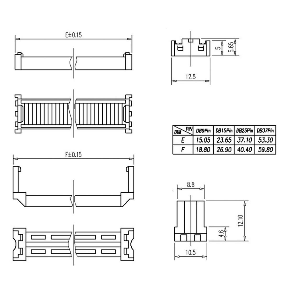 sourcing map Flachbandkabel Anschluss IDC D-Sub 25 Pin 2 Reihe Buchse Sockel IDC Crimp Port
