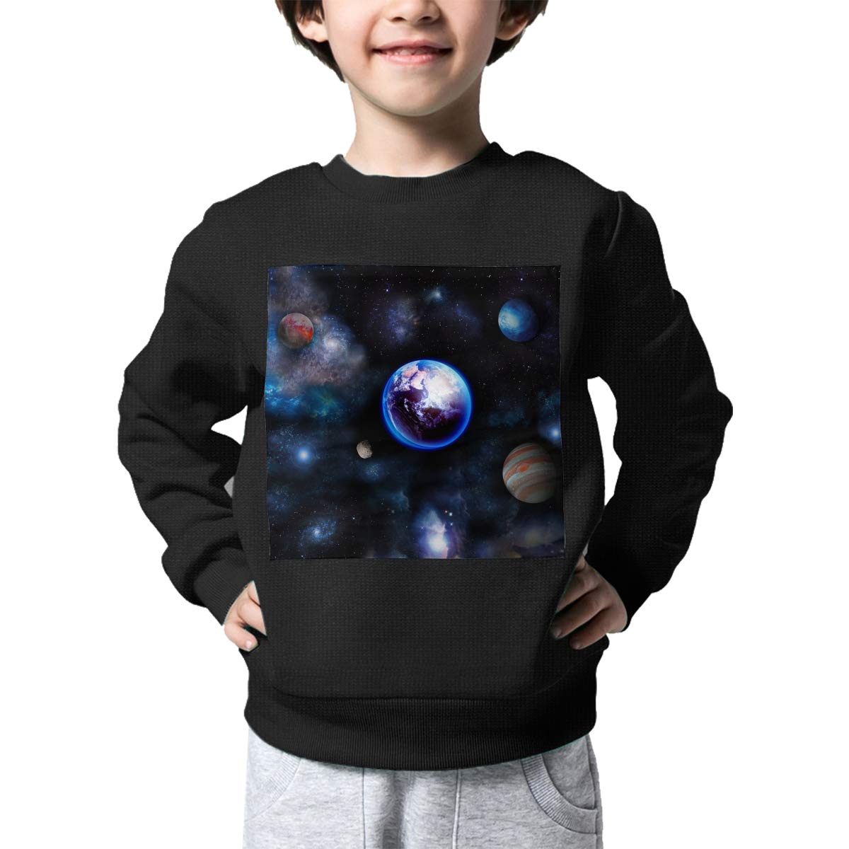 Earth Moon Space Big Bang Solar System Planet Boys Pullover Sweater Lovely Crew Neck Knitted Sweater for 2-6T