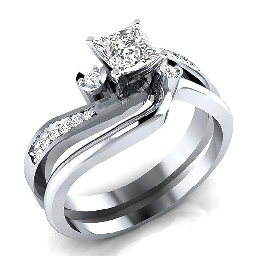100ct cz diamond princess cut created white sapphire bridal ring set 2 piece - White Sapphire Wedding Ring Sets