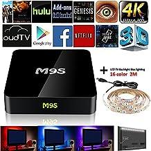 Flylion 2017 M9S TV BOX S905 Quad-Core Android 6.0 Bluetooth H.265 4K Fully Loaded Smart Mini PC Set Top Box (M9S tv box+USB LED backlight)