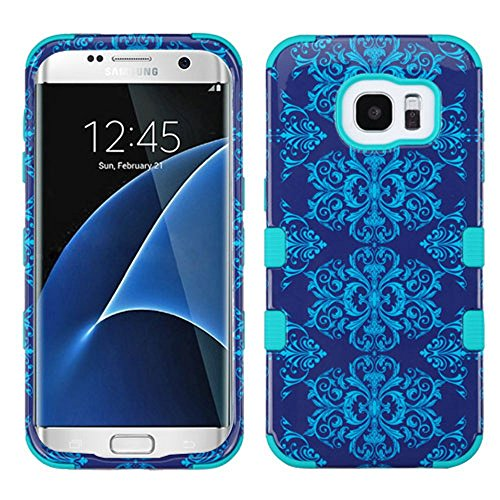 Asmyna Cell Phone Case for Samsung Galaxy S7 Edge - Purple/Blue Damask/Tropical Teal