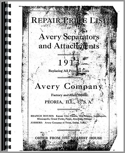 Download Avery 22 x 36 Tractor Parts Manual PDF