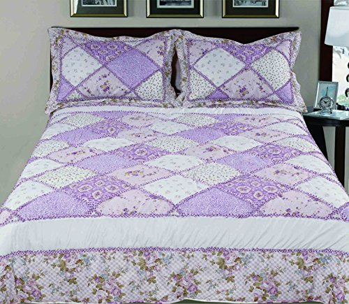 (Livingston Home 3 Piece Garden Diamond Design Bed in a Bag with Quilted Pillow Shams Comforter Set, Queen, Purple)