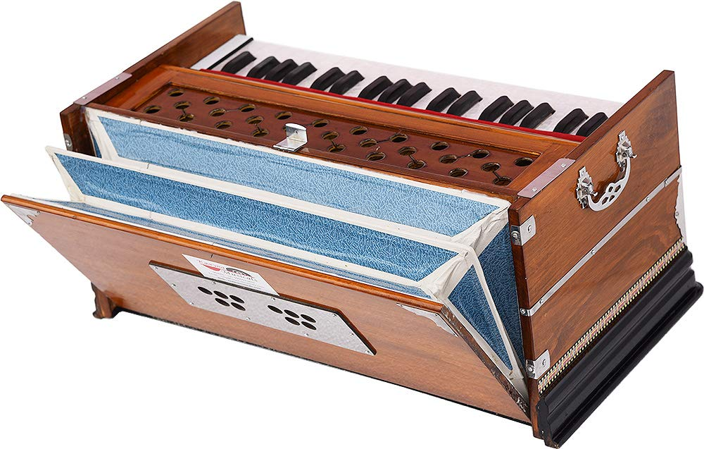 Harmonium Eco Model By Kaayna Musicals, Brown Colour, 7 Stops- 2 Drone, 3¼ Octaves, Gig Bag, Bass/Male Reed Tuned- 440 Hz, Best for Peace, Yoga, Bhajan, Kirtan, Shruti, Mantra, etc by Kaayna Musicals (Image #4)