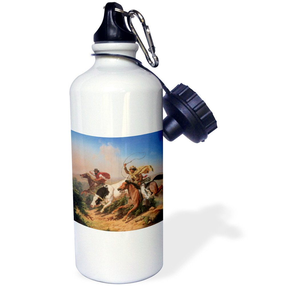 3dRose wb_126719_1''Vaqueros Roping a Steer by Charles Christian Nahl American West'' Sports Water Bottle, 21 oz, White