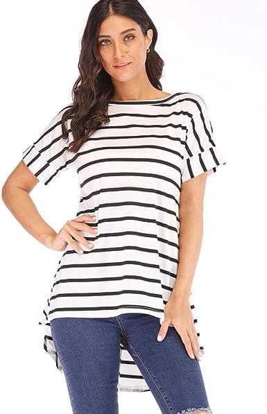 Mujer Camiseta Rayas Irregulares Espalda Larga Cómoda ...