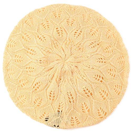 - SK Hat shop Pastel Pointelle Vented Soft Knit Lurex Shimmer Beret Beanie Hat Cap Tam Peach