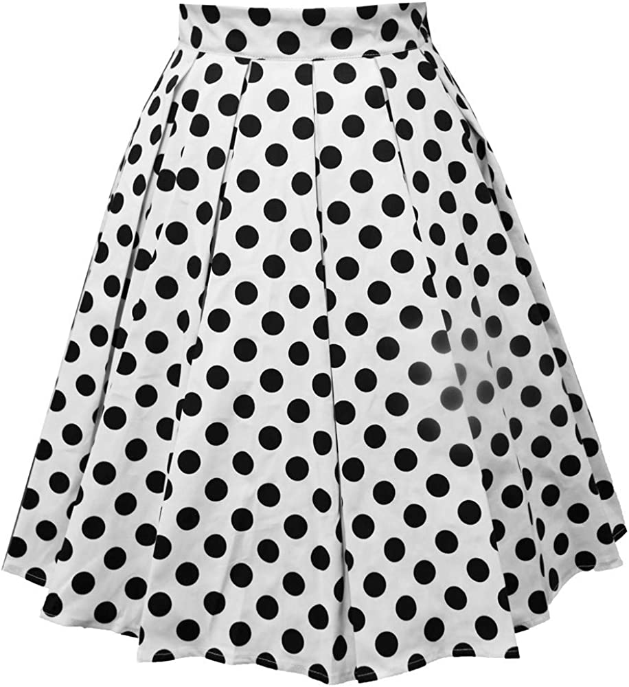 Falda plisada vintage para mujer, falda de lunares estampada A ...