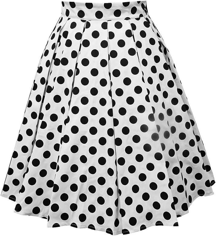 Falda Plisada Vintage para Mujer Falda de Lunares Estampada con ...