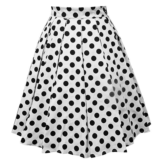 beautyjourney Falda Plisada Vintage Mujer Elegantes Faldas Midi de ...