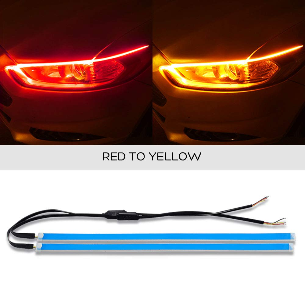 Ceyes Daytime Running Light LED Strips Waterproof LED Headlight Surface Strip Tube,Running Light,Neon Light,Turn Signal Light,Flexible LED DRL Strips Dual Colors Flowing White to Yellow - 2pcs 12inch