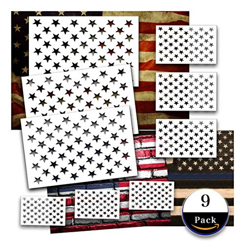 Star Stencil American Flag 50 Star for Painting on Wood Crafts Fabric/Airbrush/Reusable Stencil/DIY Drawing Painting Craft Projects/Glass and Wall 9 Pieces 3 Large 3 Medium 3 Small