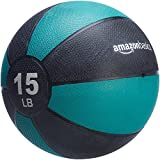 AmazonBasics Workout Fitness Exercise Weighted Medicine Ball - 15 Pounds, Turquoise and Black
