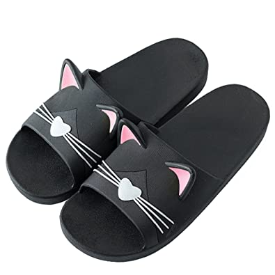 Mens & Womens House Non-Slip Bath Slippers For Couples Sandals Cute Cat Flat Slide Sandals Indoor Shoes